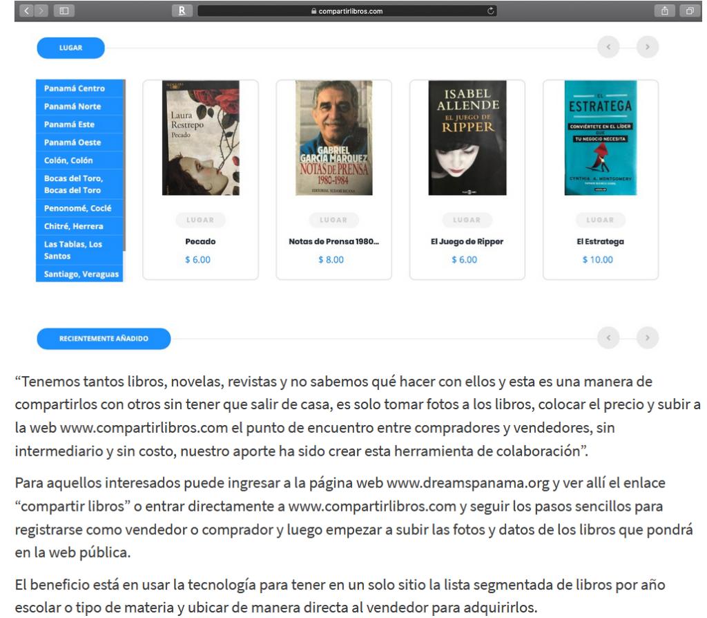 """<a href=""""https://dreamspanama.org/proyecto-para-la-venta-y-donacion-de-libros/"""" rel=""""noopener noreferrer"""" target=""""_blank"""">Proyecto para la venta y donación de libros</a>Proyecto para la venta y donación de libros"""